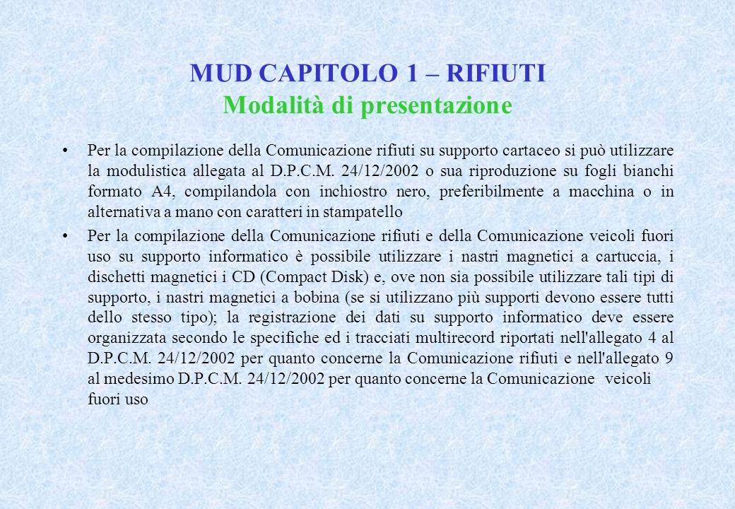 MUD CAPITOLO 1 – RIFIUTI Modalità di presentazione Per la compilazione della Comunicazione rifiuti su supporto cartaceo si può utilizzare la modulistica allegata al D.P.C.M.