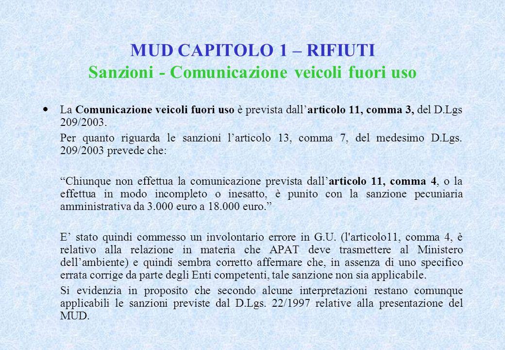 MUD CAPITOLO 1 – RIFIUTI Sanzioni - Comunicazione veicoli fuori uso La Comunicazione veicoli fuori uso è prevista dallarticolo 11, comma 3, del D.Lgs 209/2003.