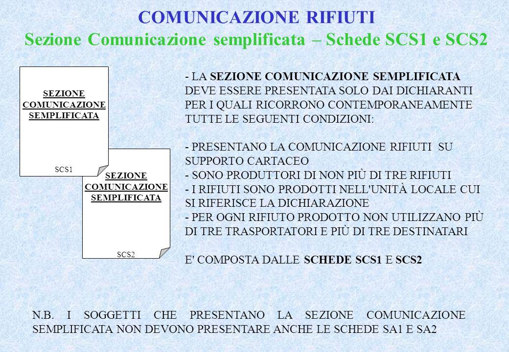 SEZIONE COMUNICAZIONE SEMPLIFICATA SCS2 SEZIONE COMUNICAZIONE SEMPLIFICATA SCS1 - LA SEZIONE COMUNICAZIONE SEMPLIFICATA DEVE ESSERE PRESENTATA SOLO DAI DICHIARANTI PER I QUALI RICORRONO CONTEMPORANEAMENTE TUTTE LE SEGUENTI CONDIZIONI: - PRESENTANO LA COMUNICAZIONE RIFIUTI SU SUPPORTO CARTACEO - SONO PRODUTTORI DI NON PIÙ DI TRE RIFIUTI - I RIFIUTI SONO PRODOTTI NELL UNITÀ LOCALE CUI SI RIFERISCE LA DICHIARAZIONE - PER OGNI RIFIUTO PRODOTTO NON UTILIZZANO PIÙ DI TRE TRASPORTATORI E PIÙ DI TRE DESTINATARI E COMPOSTA DALLE SCHEDE SCS1 E SCS2 N.B.