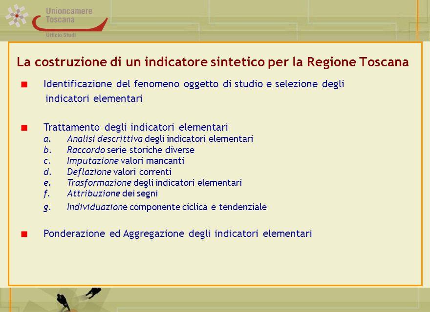 La costruzione di un indicatore sintetico per la Regione Toscana Identificazione del fenomeno oggetto di studio e selezione degli indicatori elementar