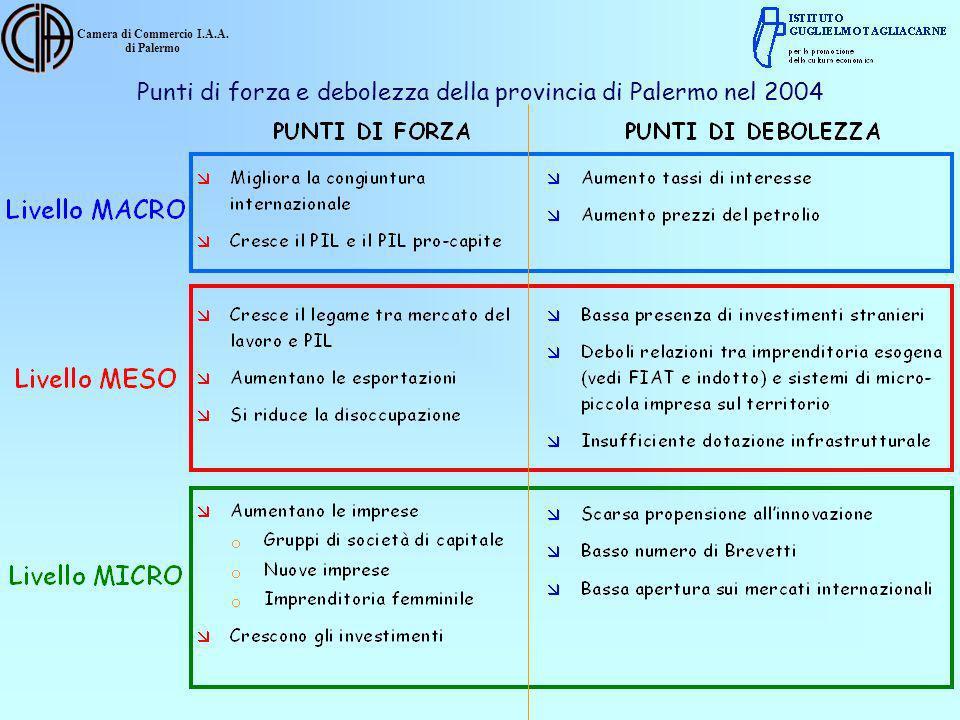 Camera di Commercio I.A.A. di Palermo Punti di forza e debolezza della provincia di Palermo nel 2004