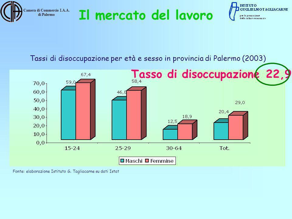 Camera di Commercio I.A.A. di Palermo Tassi di disoccupazione per età e sesso in provincia di Palermo (2003) Fonte: elaborazione Istituto G. Tagliacar