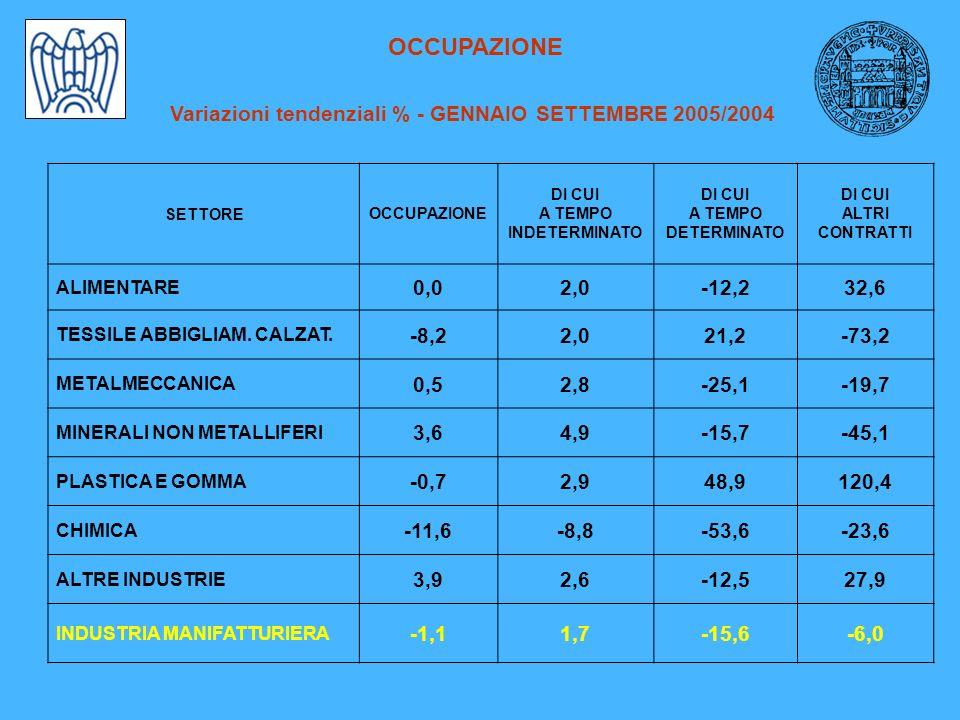 OCCUPAZIONE Variazioni tendenziali % - GENNAIO SETTEMBRE 2005/2004 SETTOREOCCUPAZIONE DI CUI A TEMPO INDETERMINATO DI CUI A TEMPO DETERMINATO DI CUI ALTRI CONTRATTI ALIMENTARE 0,02,0-12,232,6 TESSILE ABBIGLIAM.