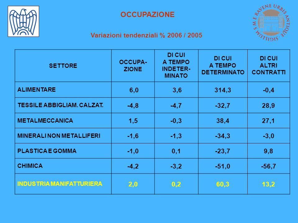 OCCUPAZIONE Variazioni tendenziali % 2006 / 2005 SETTORE OCCUPA- ZIONE DI CUI A TEMPO INDETER- MINATO DI CUI A TEMPO DETERMINATO DI CUI ALTRI CONTRATTI ALIMENTARE 6,0 3,6314,3-0,4 TESSILE ABBIGLIAM.