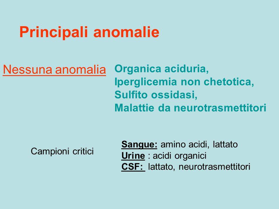 Principali anomalie Nessuna anomalia Campioni critici Sangue: amino acidi, lattato Urine : acidi organici CSF: lattato, neurotrasmettitori Organica ac