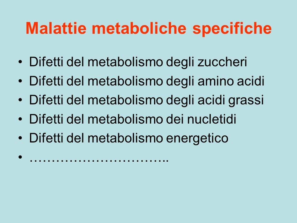 Malattie metaboliche specifiche Difetti del metabolismo degli zuccheri Difetti del metabolismo degli amino acidi Difetti del metabolismo degli acidi g