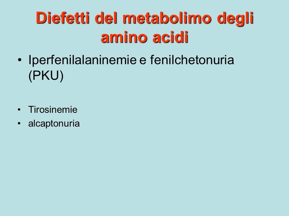 Diefetti del metabolimo degli amino acidi Iperfenilalaninemie e fenilchetonuria (PKU) Tirosinemie alcaptonuria