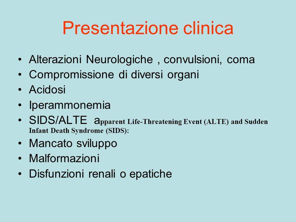 Presentazione clinica Alterazioni Neurologiche, convulsioni, coma Compromissione di diversi organi Acidosi Iperammonemia SIDS/ALTE a pparent Life-Thre