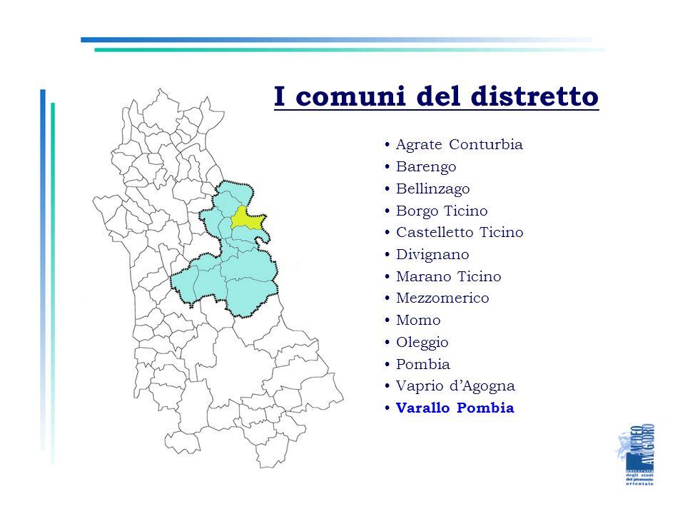 I comuni del distretto Agrate Conturbia Barengo Bellinzago Borgo Ticino Castelletto Ticino Divignano Marano Ticino Mezzomerico Momo Oleggio Pombia Vaprio dAgogna Varallo Pombia