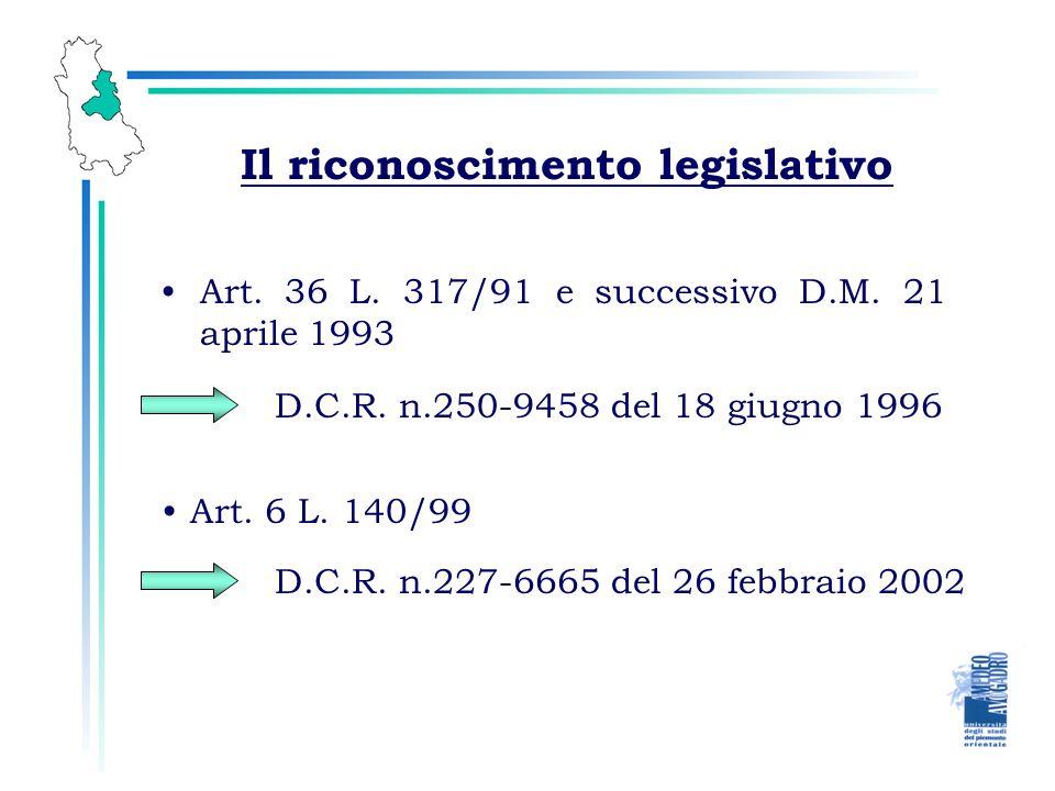 Il riconoscimento legislativo Art. 36 L. 317/91 e successivo D.M. 21 aprile 1993 D.C.R. n.250-9458 del 18 giugno 1996 Art. 6 L. 140/99 D.C.R. n.227-66