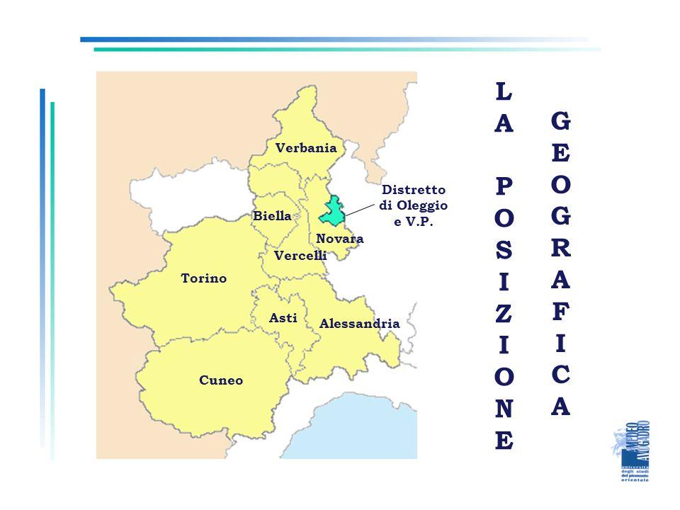 LAPOSIZIONELAPOSIZIONE GEOGRAFICAGEOGRAFICA Verbania Vercelli Biella Torino Asti Cuneo Alessandria Novara Distretto di Oleggio e V.P.