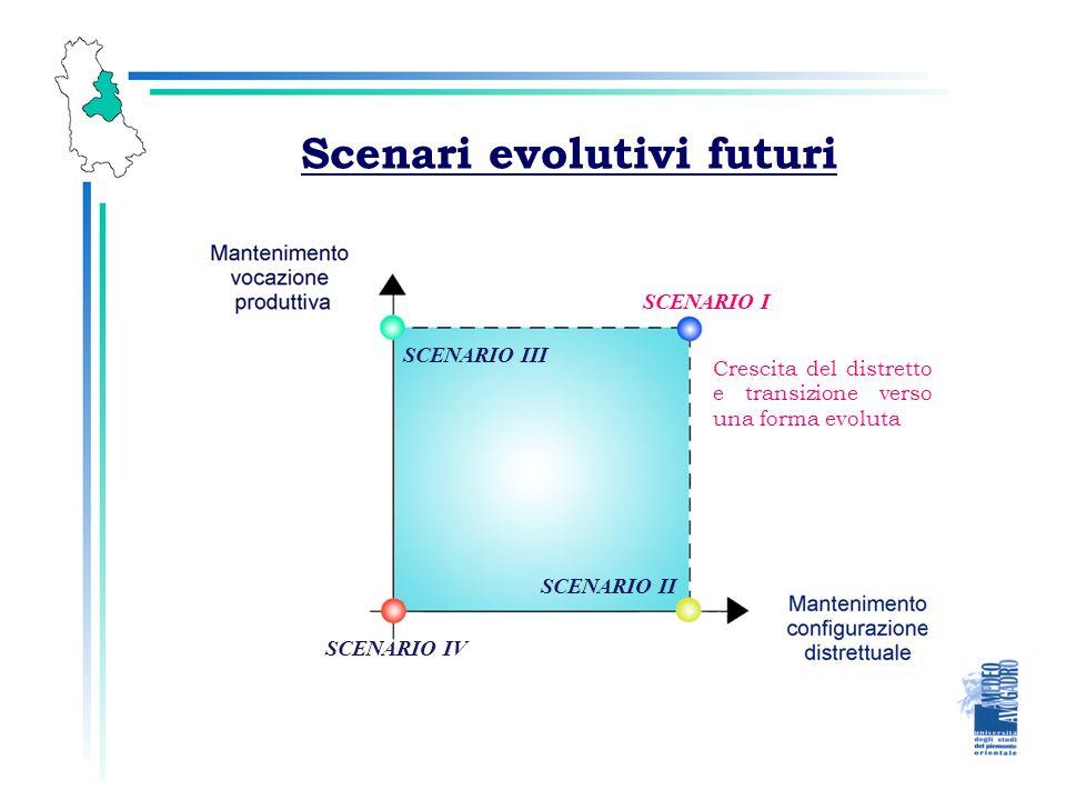 Scenari evolutivi futuri SCENARIO I SCENARIO II SCENARIO III SCENARIO IV Crescita del distretto e transizione verso una forma evoluta