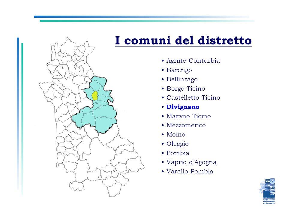 I comuni del distretto Agrate Conturbia Barengo Bellinzago Borgo Ticino Castelletto Ticino Divignano Marano Ticino Mezzomerico Momo Oleggio Pombia Vap