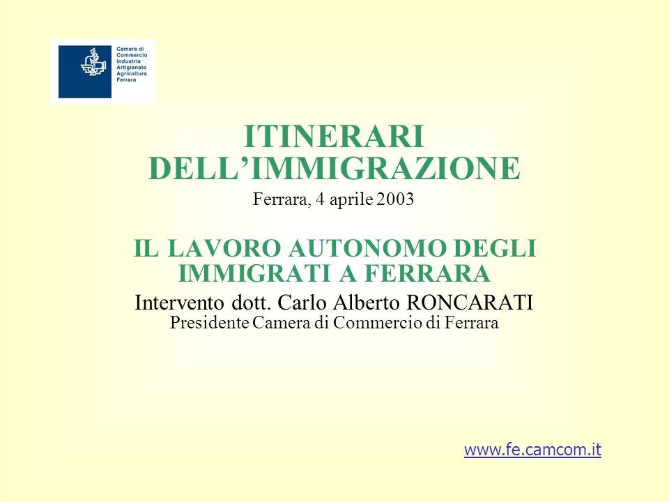 ITINERARI DELLIMMIGRAZIONE Ferrara, 4 aprile 2003 IL LAVORO AUTONOMO DEGLI IMMIGRATI A FERRARA Intervento dott.