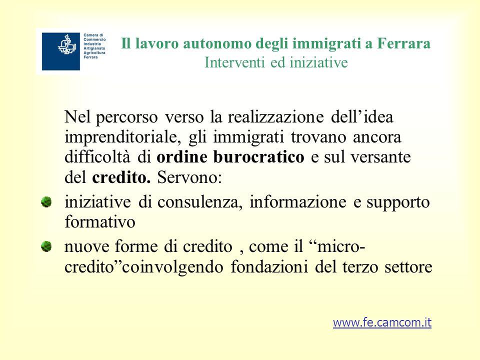 Il lavoro autonomo degli immigrati a Ferrara Interventi ed iniziative Nel percorso verso la realizzazione dellidea imprenditoriale, gli immigrati trovano ancora difficoltà di ordine burocratico e sul versante del credito.