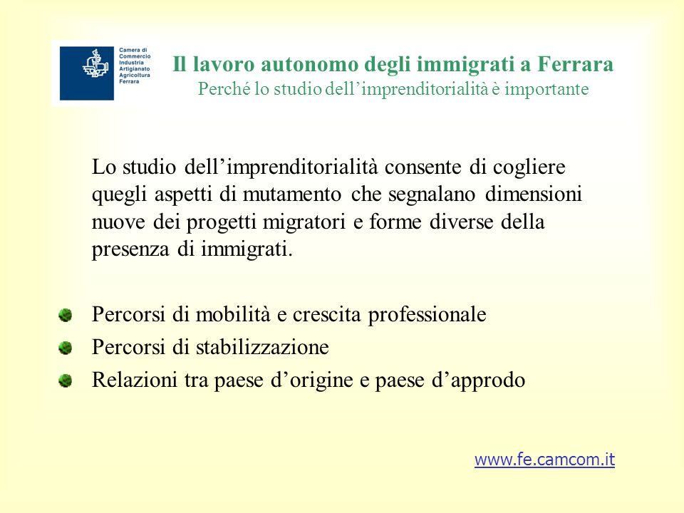 Il lavoro autonomo degli immigrati a Ferrara Perché lo studio dellimprenditorialità è importante Lo studio dellimprenditorialità consente di cogliere quegli aspetti di mutamento che segnalano dimensioni nuove dei progetti migratori e forme diverse della presenza di immigrati.