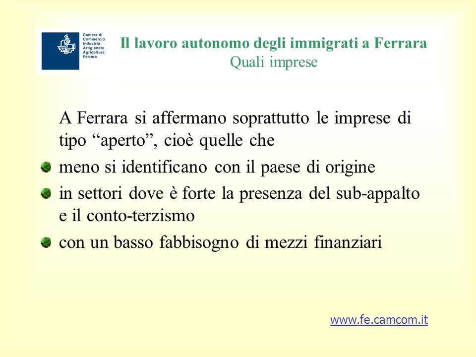 Il lavoro autonomo degli immigrati a Ferrara Quali imprese A Ferrara si affermano soprattutto le imprese di tipo aperto, cioè quelle che meno si identificano con il paese di origine in settori dove è forte la presenza del sub-appalto e il conto-terzismo con un basso fabbisogno di mezzi finanziari www.fe.camcom.it