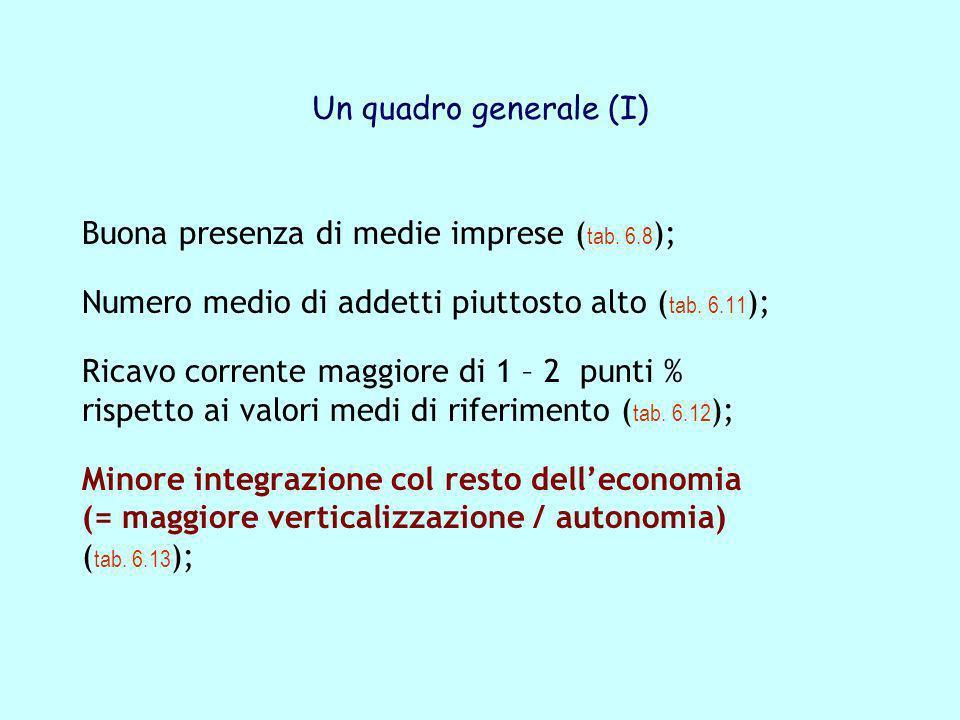 Un quadro generale (I) Buona presenza di medie imprese ( tab. 6.8 ); Numero medio di addetti piuttosto alto ( tab. 6.11 ); Ricavo corrente maggiore di