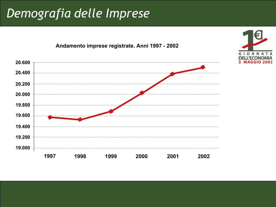 In tutto il periodo aumenta il numero delle imprese registrate La curva rallenta la propria inclinazione nellultimo anno Nel 2002 aumentano i servizi, diminuisce il commercio tradizionale, in aumento le Costruzioni (microaziende); in forte aumento le altre forme