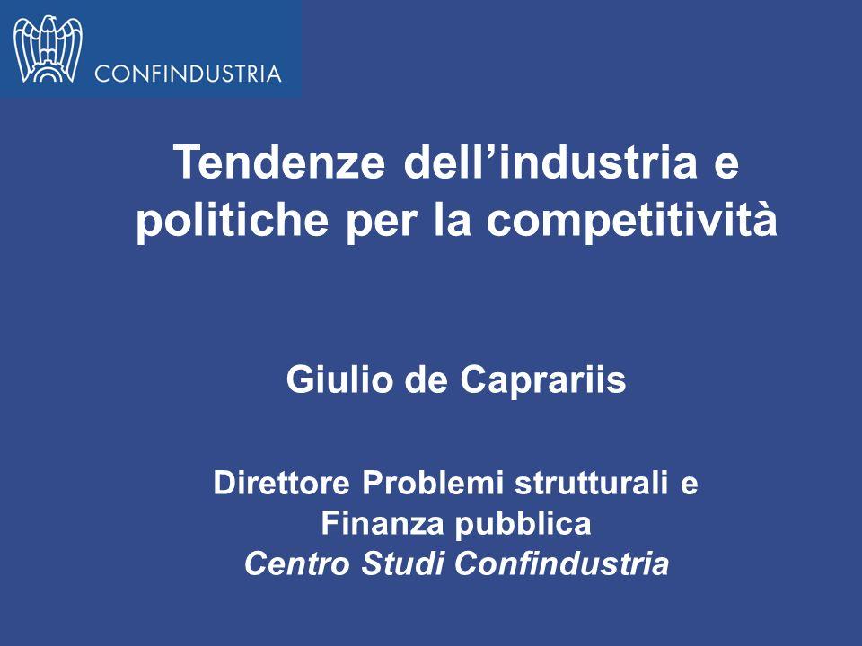 Tendenze dellindustria e politiche per la competitività Giulio de Caprariis Direttore Problemi strutturali e Finanza pubblica Centro Studi Confindustr