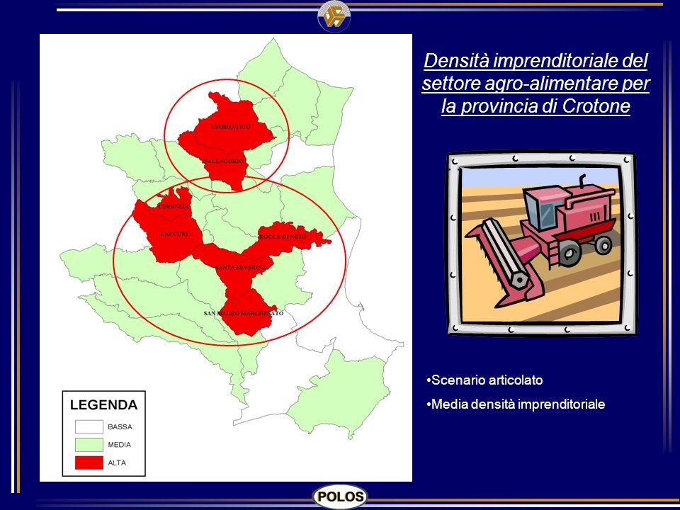 Densità imprenditoriale del settore agro-alimentare per la provincia di Crotone Scenario articolato Media densità imprenditoriale