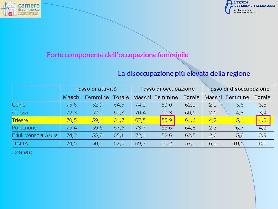 Fonte:Istat Forte componente delloccupazione femminile La disoccupazione più elevata della regione