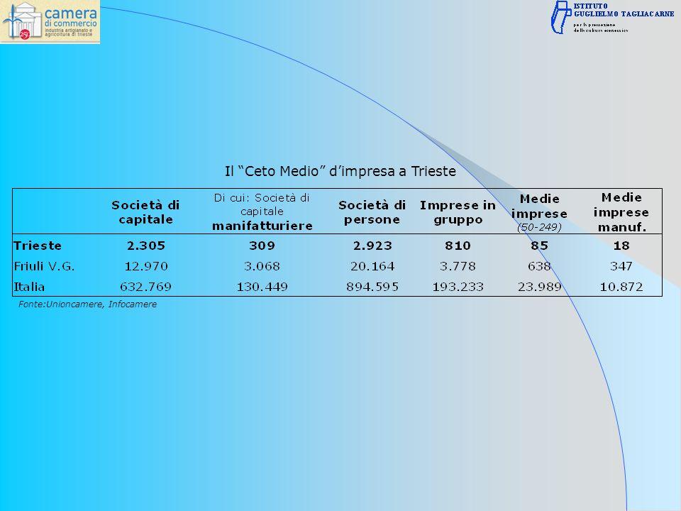 Il Ceto Medio dimpresa a Trieste Fonte:Unioncamere, Infocamere