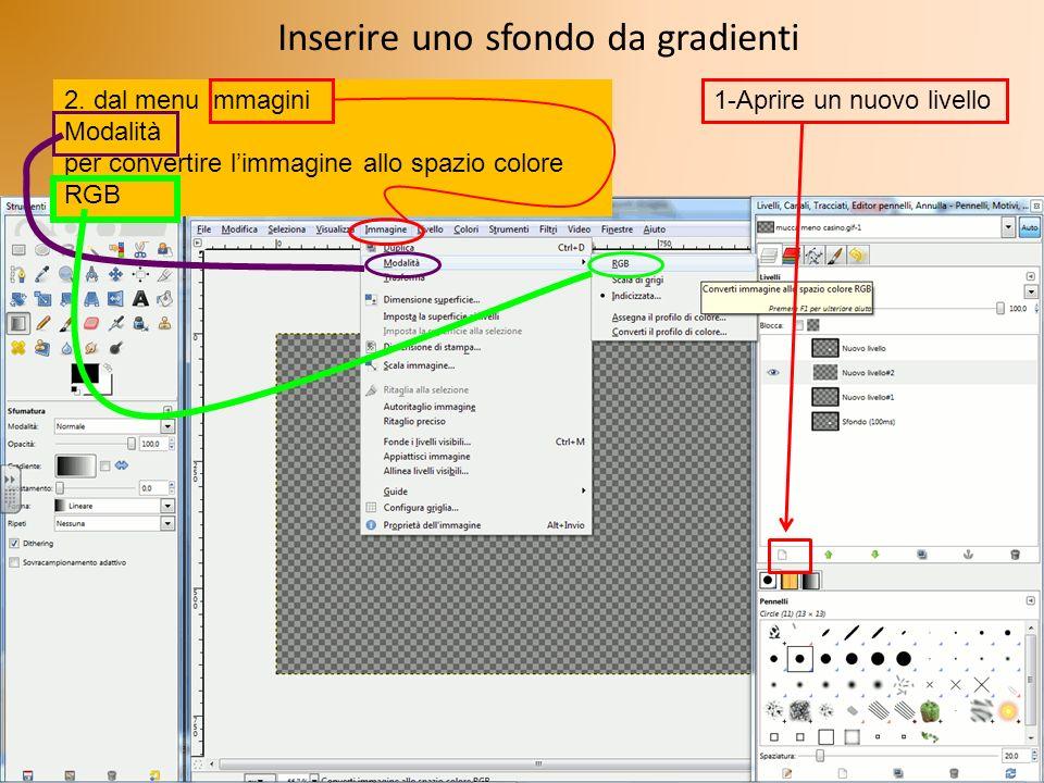 Inserire uno sfondo da gradienti 2. dal menu immagini Modalità per convertire limmagine allo spazio colore RGB 1-Aprire un nuovo livello