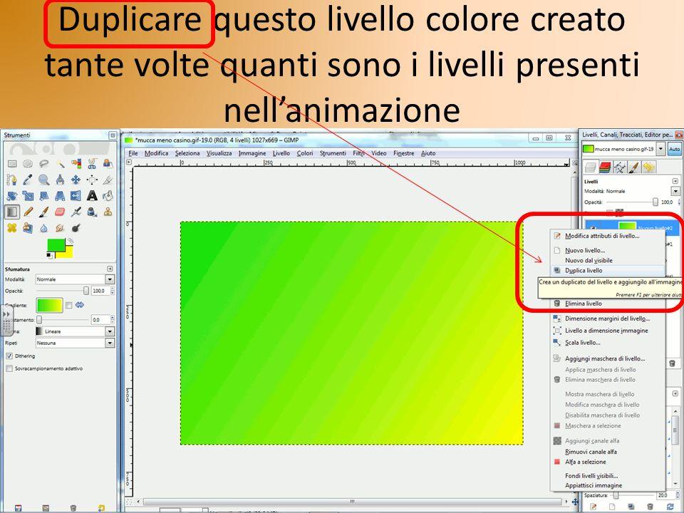 Duplicare questo livello colore creato tante volte quanti sono i livelli presenti nellanimazione