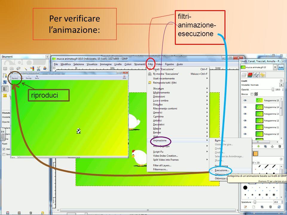 Per verificare lanimazione: filtri- animazione- esecuzione riproduci