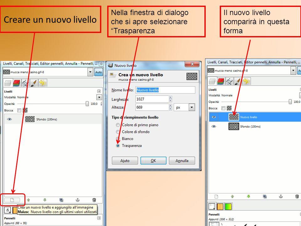 Creare un nuovo livello Nella finestra di dialogo che si apre selezionare Trasparenza Il nuovo livello comparirà in questa forma