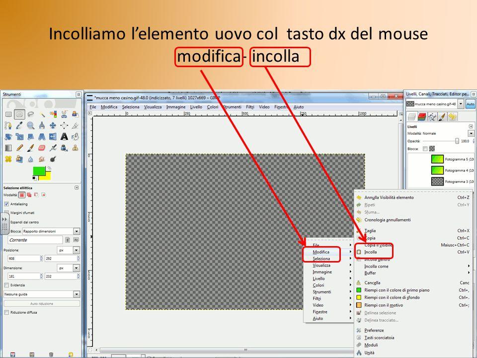 Incolliamo lelemento uovo col tasto dx del mouse modifica- incolla