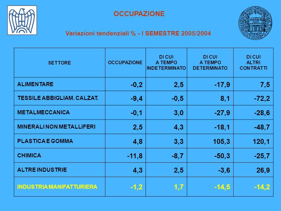 OCCUPAZIONE Variazioni tendenziali % - I SEMESTRE 2005/2004 SETTOREOCCUPAZIONE DI CUI A TEMPO INDETERMINATO DI CUI A TEMPO DETERMINATO DI CUI ALTRI CONTRATTI ALIMENTARE -0,22,5-17,97,5 TESSILE ABBIGLIAM.