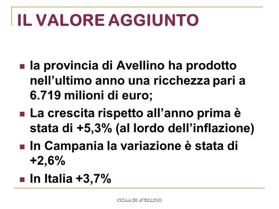 CCIAA DI AVELLINO IL VALORE AGGIUNTO la provincia di Avellino ha prodotto nellultimo anno una ricchezza pari a 6.719 milioni di euro; La crescita rispetto allanno prima è stata di +5,3% (al lordo dellinflazione) In Campania la variazione è stata di +2,6% In Italia +3,7%
