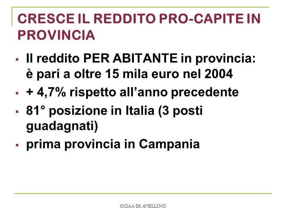 CCIAA DI AVELLINO CRESCE IL REDDITO PRO-CAPITE IN PROVINCIA Il reddito PER ABITANTE in provincia: è pari a oltre 15 mila euro nel 2004 + 4,7% rispetto allanno precedente 81° posizione in Italia (3 posti guadagnati) prima provincia in Campania