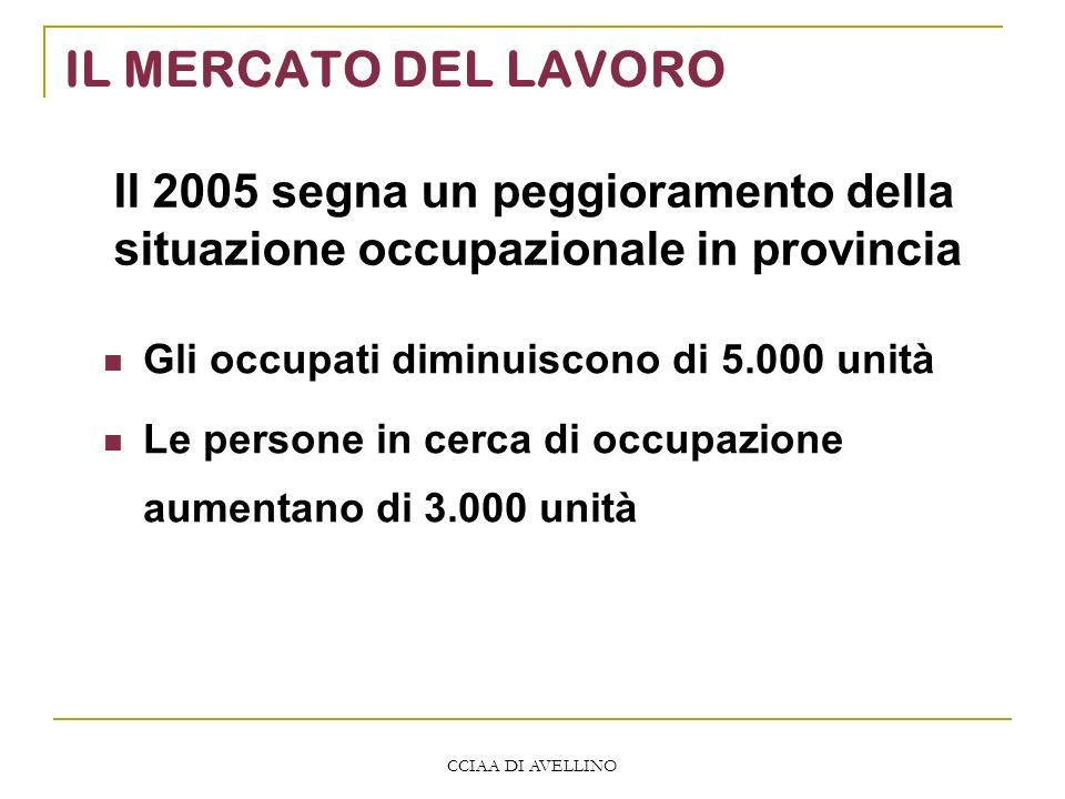 CCIAA DI AVELLINO IL MERCATO DEL LAVORO Gli occupati diminuiscono di 5.000 unità Le persone in cerca di occupazione aumentano di 3.000 unità Il 2005 s