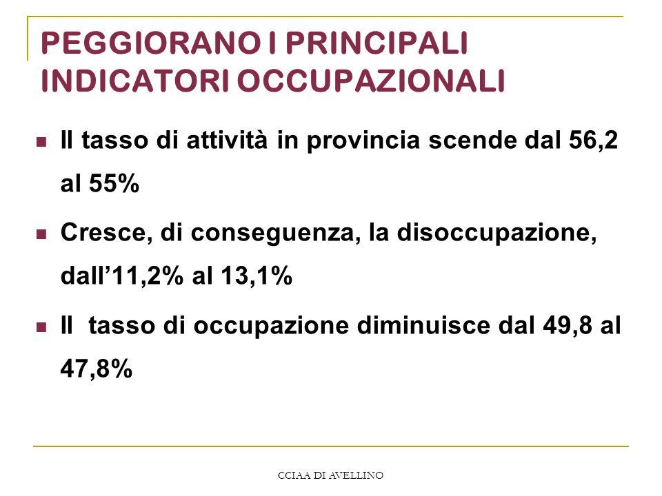 CCIAA DI AVELLINO PEGGIORANO I PRINCIPALI INDICATORI OCCUPAZIONALI Il tasso di attività in provincia scende dal 56,2 al 55% Cresce, di conseguenza, la disoccupazione, dall11,2% al 13,1% Il tasso di occupazione diminuisce dal 49,8 al 47,8%