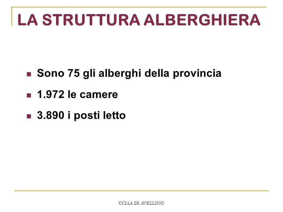CCIAA DI AVELLINO LA STRUTTURA ALBERGHIERA Sono 75 gli alberghi della provincia 1.972 le camere 3.890 i posti letto