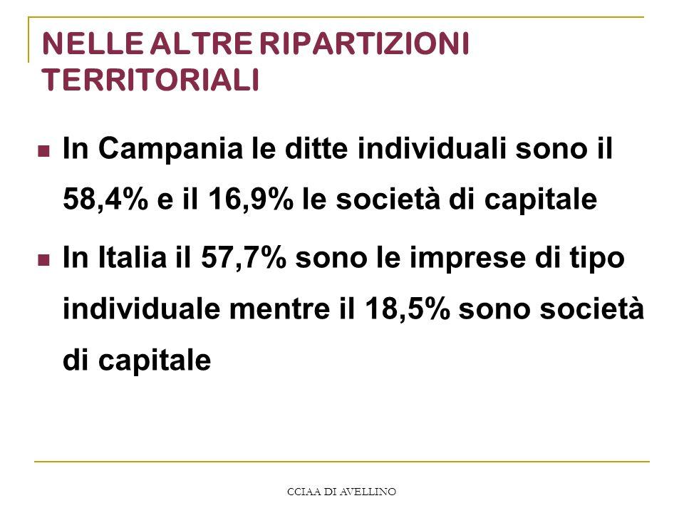 CCIAA DI AVELLINO NELLE ALTRE RIPARTIZIONI TERRITORIALI In Campania le ditte individuali sono il 58,4% e il 16,9% le società di capitale In Italia il 57,7% sono le imprese di tipo individuale mentre il 18,5% sono società di capitale