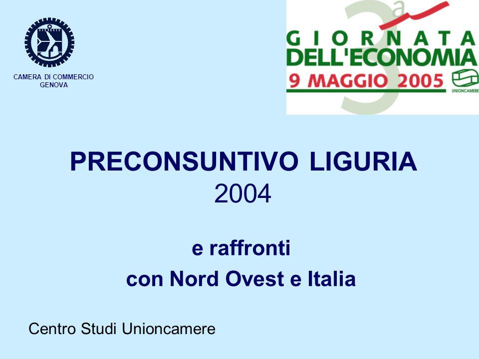 CAMERA DI COMMERCIO GENOVA PRECONSUNTIVO LIGURIA 2004 e raffronti con Nord Ovest e Italia Centro Studi Unioncamere