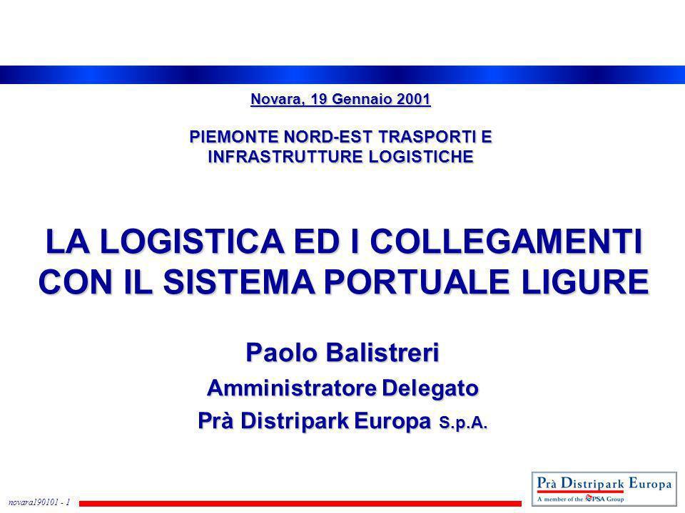 novara190101 - 1 LA LOGISTICA ED I COLLEGAMENTI CON IL SISTEMA PORTUALE LIGURE Paolo Balistreri Amministratore Delegato Prà Distripark Europa S.p.A. N