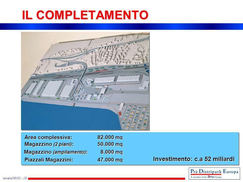 novara190101 - 18 IL COMPLETAMENTO Area complessiva:82.000 mq Piazzali Magazzini: 47.000 mq Magazzino (2 piani) :50.000 mq Investimento: c.a 52 miliar