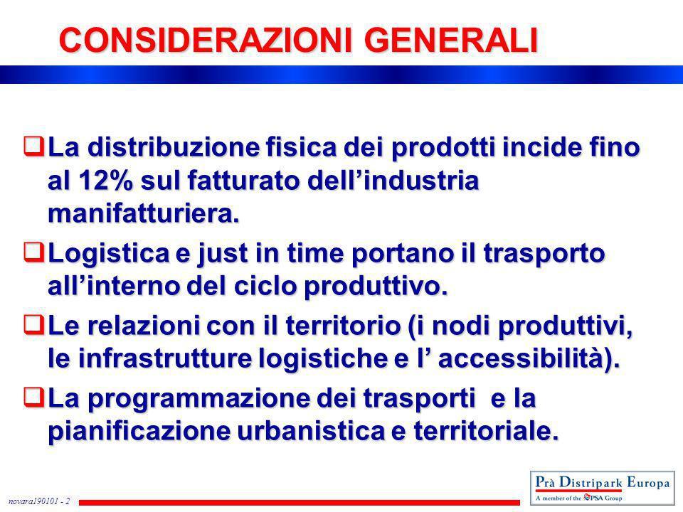 novara190101 - 2 CONSIDERAZIONI GENERALI La distribuzione fisica dei prodotti incide fino al 12% sul fatturato dellindustria manifatturiera. La distri