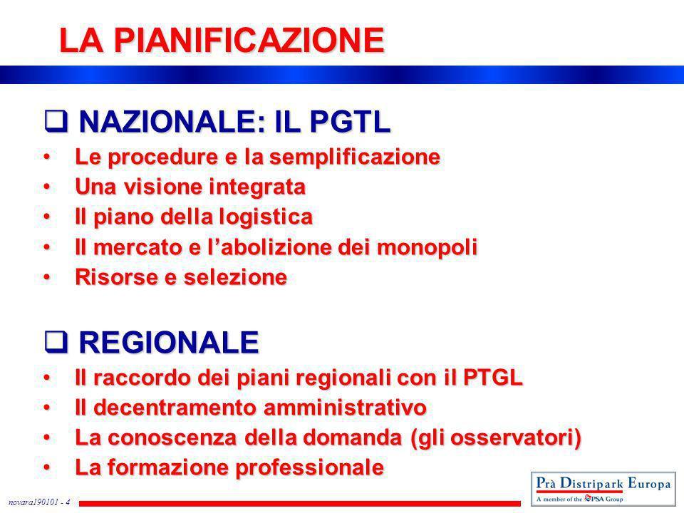 novara190101 - 4 LA PIANIFICAZIONE NAZIONALE: lL PGTL NAZIONALE: lL PGTL Le procedure e la semplificazione Le procedure e la semplificazione Una visio