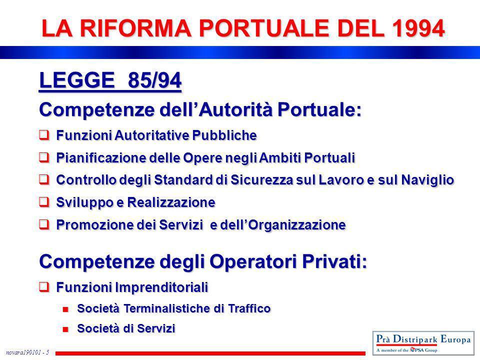 novara190101 - 5 LA RIFORMA PORTUALE DEL 1994 LEGGE 85/94 Competenze dellAutorità Portuale: Funzioni Autoritative Pubbliche Funzioni Autoritative Pubb
