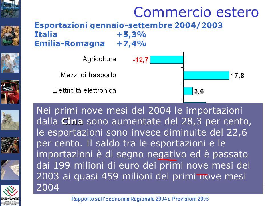 Rapporto sullEconomia Regionale 2004 e Previsioni 2005 Commercio estero Esportazioni gennaio-settembre 2004/2003 Italia +5,3% Emilia-Romagna +7,4% Fon