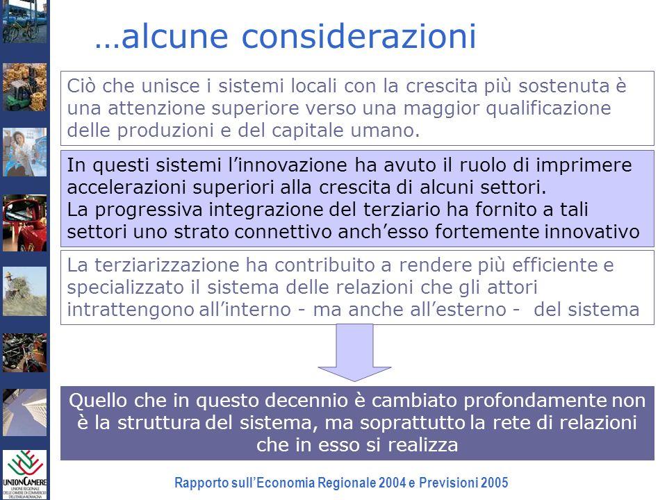 Rapporto sullEconomia Regionale 2004 e Previsioni 2005 …alcune considerazioni Ciò che unisce i sistemi locali con la crescita più sostenuta è una atte