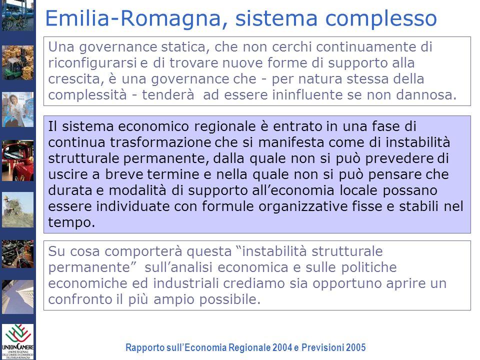 Rapporto sullEconomia Regionale 2004 e Previsioni 2005 Emilia-Romagna, sistema complesso Una governance statica, che non cerchi continuamente di ricon
