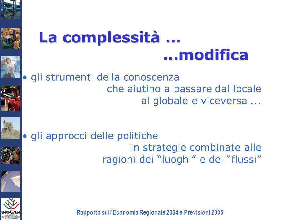 Rapporto sullEconomia Regionale 2004 e Previsioni 2005 La complessità......modifica gli strumenti della conoscenza che aiutino a passare dal locale al