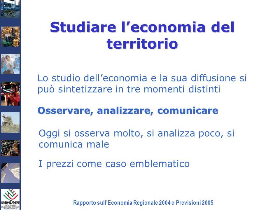 Rapporto sullEconomia Regionale 2004 e Previsioni 2005 Studiare leconomia del territorio Lo studio delleconomia e la sua diffusione si può sintetizzar